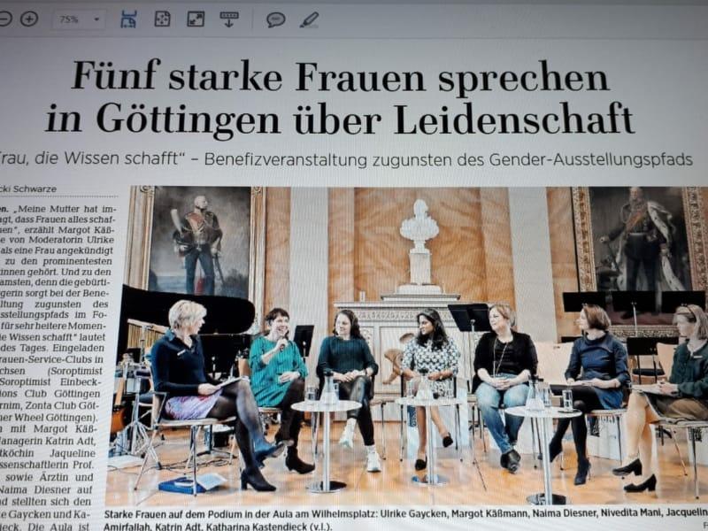 """Foto Zeitungsartikel: """"Fünf Frauen sprechen in Göttingsn über Leidenschaft"""""""